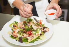 O cozinheiro chefe está decorando o prato do aperitivo Fotos de Stock Royalty Free