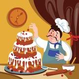 O cozinheiro chefe está fazendo o bolo na fornalha Padeiro dos desenhos animados com um bolo grande Ilustração gorda de Vetora do ilustração do vetor