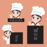 O cozinheiro chefe fêmea guarda um signage para o alimento e o restaurante do café ilustração do vetor