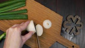 O cozinheiro chefe home corta a cebola verde na placa de madeira, os vegetais e os verdes frescos, o vegetariano e o alimento sau filme