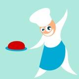 O cozinheiro chefe serve a refeição Fotos de Stock Royalty Free