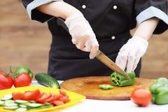O cozinheiro corta vegetais frescos da exploração agrícola fotografia de stock royalty free