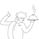 o Cozinheiro-cozinheiro chefe que mostra um prato, e mostra que é muito bom Fotos de Stock