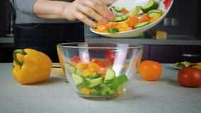 O cozinheiro derrama dentro ingredientes de uma salada da bacia vídeos de arquivo