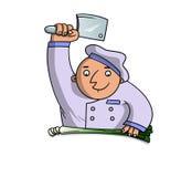 O cozinheiro desbasta o alho-porro Imagem de Stock Royalty Free
