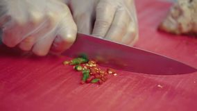O cozinheiro desbasta a pimenta de pimentão para a salada vídeos de arquivo