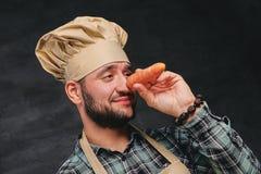 O cozinheiro farpado do cozinheiro chefe guarda a cenoura perto de seu nariz Foto de Stock