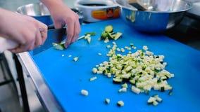 O cozinheiro que corta o abobrinha na placa em umas partes pequenas vídeos de arquivo