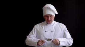O cozinheiro sério levanta suas mãos com uma colher e a forquilha, olha seriamente na câmera cruza-as a nível da caixa vídeos de arquivo