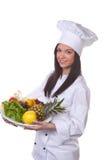O cozinheiro seriu uma fruta Foto de Stock