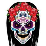 O crânio da arte de Dia das Bruxas com preto ouve-se Imagem de Stock Royalty Free