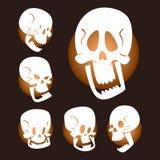 O crânio desossa a ilustração assustador do vetor do medo dos ossos cruzados do horror do Dia das Bruxas do rosto humano isolada  ilustração stock