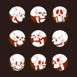 O crânio desossa a ilustração assustador do vetor do medo dos ossos cruzados do horror do Dia das Bruxas do rosto humano isolada  ilustração royalty free