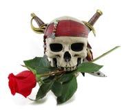 O crânio e o vermelho levantaram-se Imagens de Stock