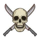 O crânio humano com dois cruzou o estilo tirado dos machetes à disposição Imagens de Stock Royalty Free