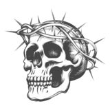 O crânio nos espinhos envolve-se ilustração stock