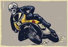 O crânio que monta a motocicleta clássica, textura é fácil de remover Imagem de Stock