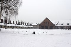 O crematório deixado no campo de concentração de Auschwitz era uma rede de acampamentos da concentração e da exterminação fotografia de stock royalty free