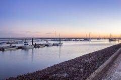 O crepúsculo do porto de Olhao, a cidade é capital de pantanais de Ria Formosa Imagem de Stock Royalty Free