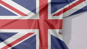 O crepe e o vinco da bandeira da tela de Union Jack com espaço branco ilustração stock