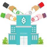 O crescimento do cofre-forte do banco da moeda ajustou-se em muitas cores Fotografia de Stock Royalty Free