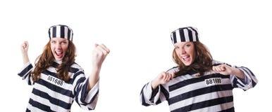 O criminoso de condenado em uniforme listrado Fotografia de Stock