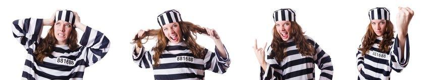 O criminoso de condenado em uniforme listrado Fotos de Stock