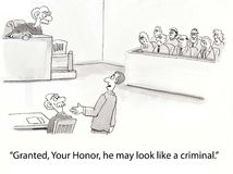 O criminoso olha como o juiz Foto de Stock Royalty Free