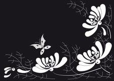 O crisântemo e a borboleta brancos Ilustração Royalty Free