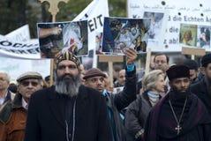 O cristão de Egipto demonstra em Viena Fotografia de Stock