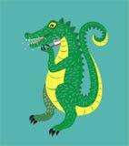 O crocodilo escova os dentes. ilustração do vetor
