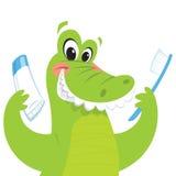 Crocodilo feliz que guardara a escova de dentes e o dentífrico Foto de Stock Royalty Free