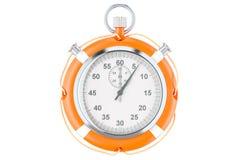 O cronômetro e o boia salva-vidas, salvar o conceito do tempo rendição 3d ilustração stock