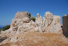O cruzado Knights o castelo, ilha de Tilos imagens de stock