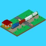 O cruzamento de estrada de ferro, trem de mercadorias leva um vagão do recipiente do tanque ilustração royalty free