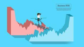 O cruzamento do homem de negócios de para baixo representa graficamente ao gráfico do crescimento Conceito do risco de investimen Fotografia de Stock
