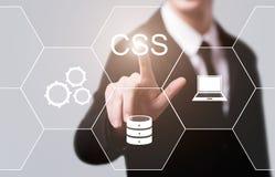 O CSS codifica o conceito de programação da tecnologia do Internet do desenvolvimento da Web foto de stock