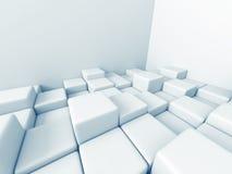 O cubo abstrato obstrui o fundo da arquitetura Fotografia de Stock Royalty Free