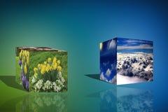o cubo 3d nubla-se a ilustração azul do fundo do nascer do sol da natureza da flor Fotografia de Stock Royalty Free