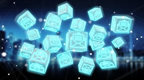 O cubo de flutuação envia por correio eletrónico a rendição da ilustração 3D Fotos de Stock Royalty Free