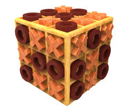 O cubo de madeira do tic-tac-dedo do pé ilustração stock