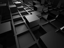 O cubo preto metálico abstrato obstrui o fundo ilustração stock