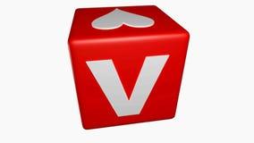 O cubo vermelho com para escrever o AMOR em suas caras está girando no fundo branco - vídeo da rendição 3D ilustração royalty free