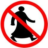 O cuidado circular árabe de passeio do aviso do sinal de estrada da proibição isolou-se ilustração stock