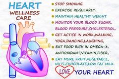 O cuidado do bem-estar do coração relacionou o ícone das palavras no backgrund do branco da neve Fotografia de Stock