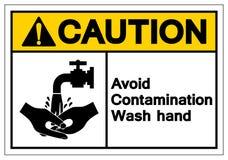 O cuidado evita o sinal do símbolo da mão da lavagem da contaminação, ilustração do vetor, isolado na etiqueta branca do fundo EP ilustração royalty free