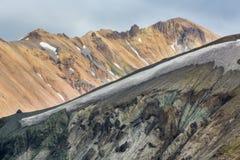 O cume na paisagem da lava de Landmannalaugar Imagens de Stock
