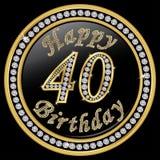 40.o cumpleaños feliz, feliz cumpleaños 40 años, icono de oro con d Imágenes de archivo libres de regalías