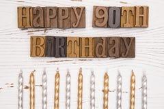 90.o cumpleaños feliz deletreado en el tipo sistema Imagenes de archivo