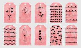 O cumprimento cor-de-rosa da aquarela etiqueta com mão bonito os elementos tirados para Imagens de Stock